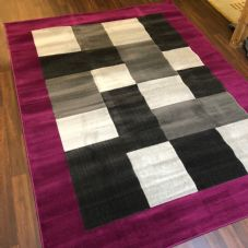 NEW MODERN BLOCK DESIGN RUGS PURPLE 180X240CM 8X6FT APPROX LUXURY QUALITY MATS